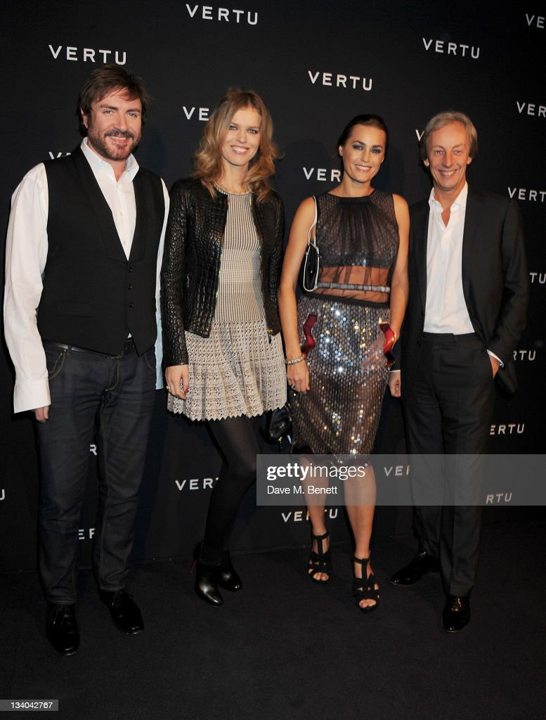 Musician Simon Le Bon, models Eva Herzigova, Yasmin Le Bon and Vertu President Perry Oosting attend the launch of the Vertu Constellation, the luxury mobile phone maker's first touchscreen handset, at the Farmiloe Building on November 24, 2011 in London, England.