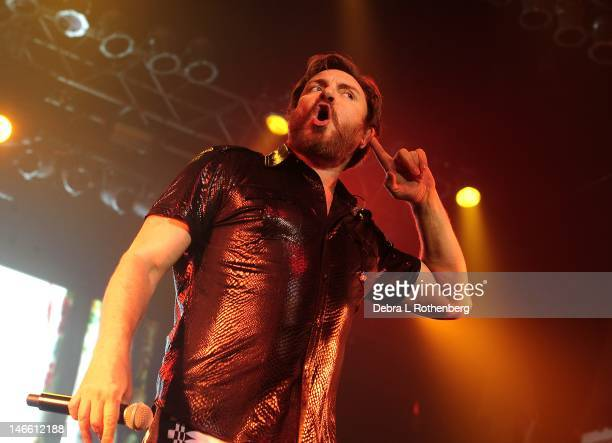 Musician Simon Le Bon of Duran Duran performs during the See What Unfolds live performance at the Trident Layers Stand Terminal 5 on June 20 2012 in...