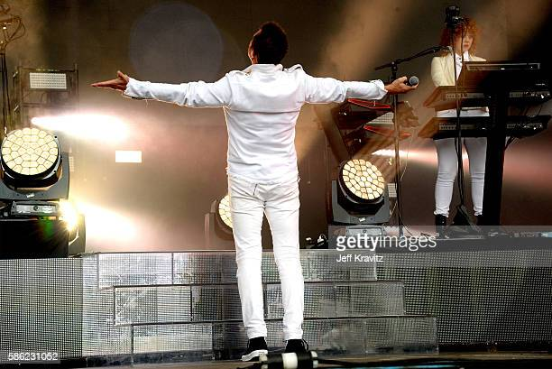 Musician Simon Le Bon of Duran Duran performs on the Lands End Stage during the 2016 Outside Lands Music And Arts Festival at Golden Gate Park on...