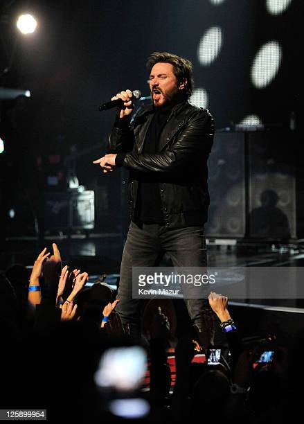 Musician Simon Le Bon of Duran Duran preforms onstage during VH1's Pepsi Super Bowl Fan Jam at Verizon Theater on February 3 2011 in Grand Prairie...