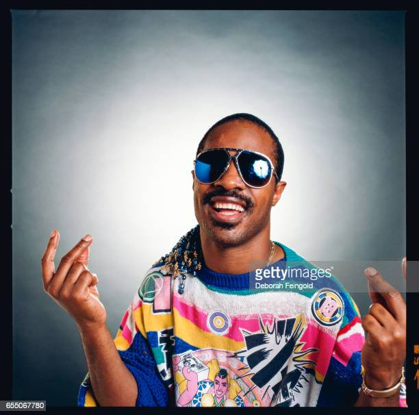 Musician singer songwriter and producer Stevie Wonder poses for a portrait in 1985 in New York City New York