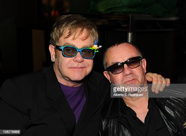 Musician Sir Elton John and songwriter Bernie Taupin arrive at Touchstone Pictures' Gnomeo and Juliet permiere after party at the El Capitan Theatre...