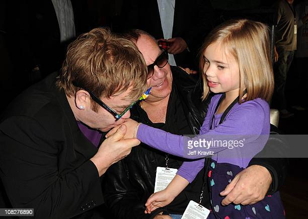 Musician Sir Elton John and songwriter Bernie Taupin attend the Los Angeles premiere of Gnomeo and Juliet after party at the The Highlands on January...