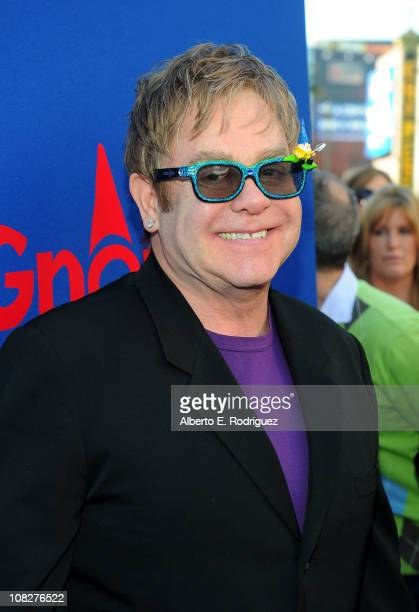 Musician Sir Elton John arrives at the Los Angeles premiere of Touchstone Pictures' 'Gnomeo And Juliet' at the El Capitan Theatre on January 23 2011...