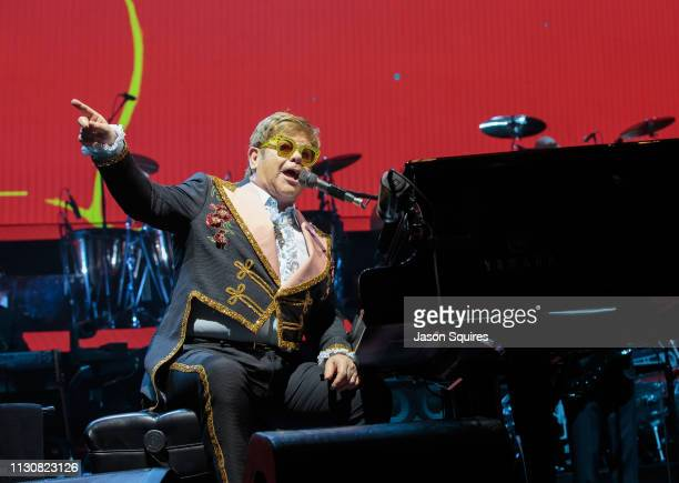 Musician Sir Elton John performs at Sprint Center on February 13 2019 in Kansas City Missouri