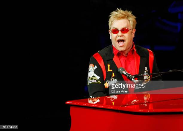 """Musician Sir Elton John performs during the final performance of his show """"The Red Piano"""" at The Colosseum at Caesars Palace April 22, 2009 in Las..."""