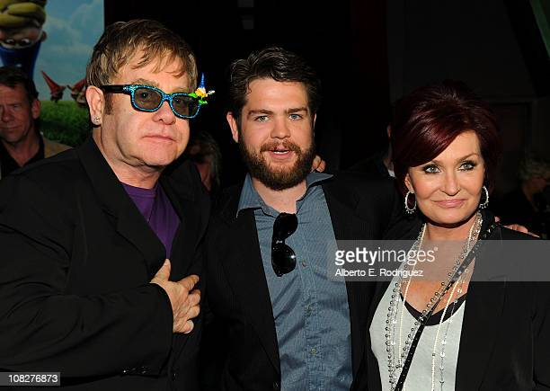 Musician Sir Elton John TV personalities Jack Osbourne and Sharon Osbourne arrive at Touchstone Pictures' 'Gnomeo and Juliet' permiere after party at...