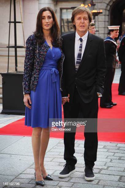 Musician Sir Paul McCartney and wife Nancy Shevell arrive to a special 'Celebration of the Arts' event at the Royal Academy of Arts on May 23 2012 in...