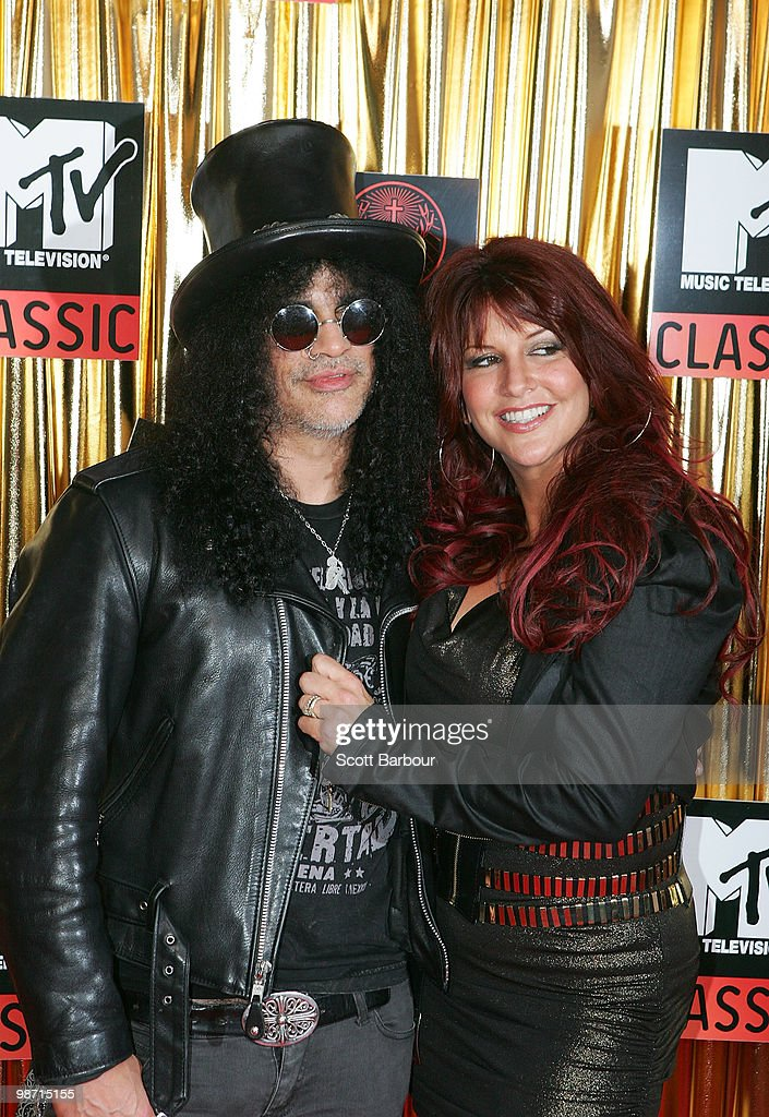 Musician Slash and wife Perla Ferrar arrive at the 'MTV Classic: The Launch' music event at the Palace Theatre on April 28, 2010 in Melbourne, Australia. The event marks the launch of MTV's new music channel 'MTV Classic', a 24-hour channel of classic contemporary music aimed at 25-40 year olds.