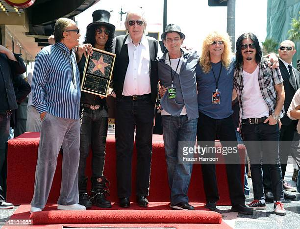 Musician Slash honored with the 2473rd Star on the Hollywood Walk of Fame with Producer Robert Evans DJ Jim Ladd Actor Charlie Sheen and Steven Adler...