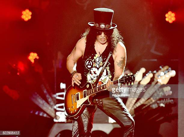 Musician Slash of Guns N' Roses performs onstage during day 2 of the 2016 Coachella Valley Music Arts Festival Weekend 1 at the Empire Polo Club on...