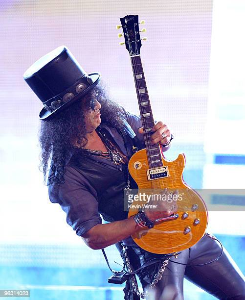 Musician Slash performs onstage during the 52nd Annual GRAMMY Awards held at Staples Center on January 31 2010 in Los Angeles California