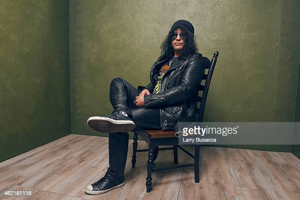 Musician Slash poses for a portrait at the Village at the Lift Presented by McDonald's McCafe during the 2015 Sundance Film Festival on January 25...