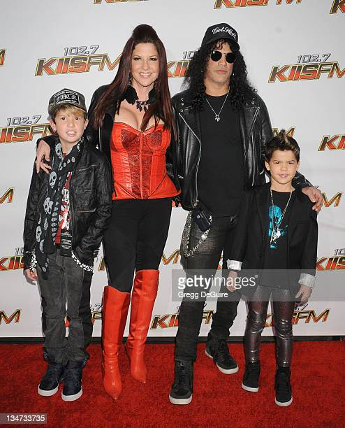Slash And Wife Perla Ferrar And Children Stock Photos and ...