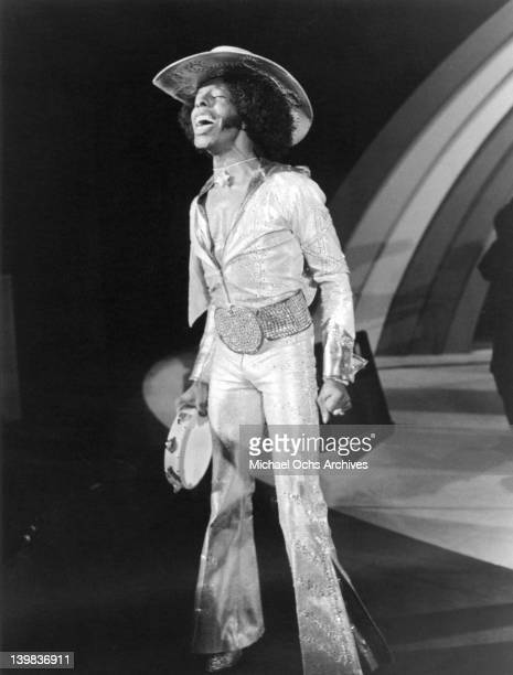 Musician Sly Stone of the psychedelic soul group 'Sly And The Family Stone' performs onstage on a TV show on October 30 1973