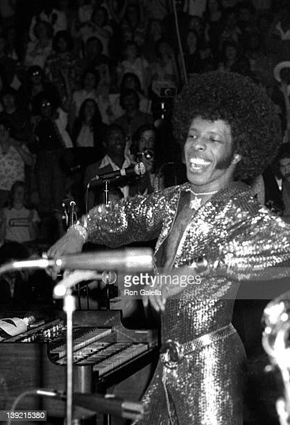 Musician Sly Stone performs at Sly StoneKathy Silva Wedding Concert on June 5 1974 at Madison Square Garden in New York City