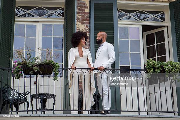 Musician Solange Knowles and her fiance music video director Alan Ferguson pose on the balcony of a private residence in the French Quarter before...
