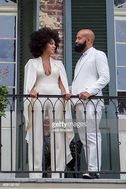 Musician Solange Knowles and her fiance, music video director Alan Ferguson pose on the balcony of a private residence in the French Quarter before...