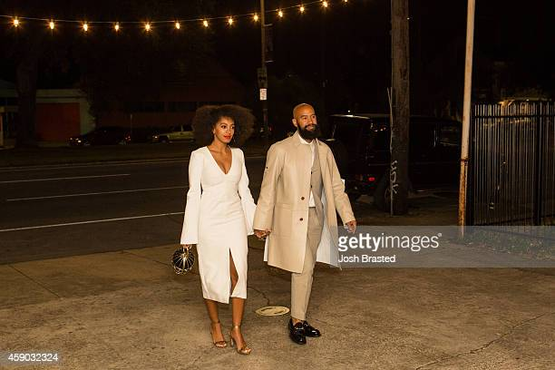 Musician Solange Knowles and her fiancee, music video director Alan Ferguson, are seen outside the Indywood Cinema on November 14, 2014 in New...