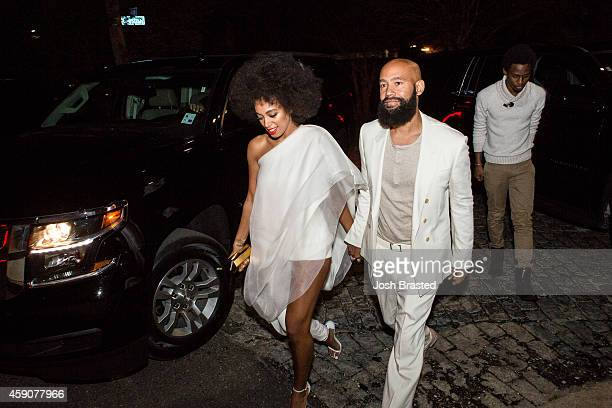Musician Solange Knowles and her fiancee, music video director Alan Ferguson , arrive for their rehearsal dinner at the Felicity Street Methodist...