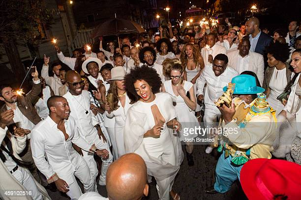 Musician Solange Knowles and her new husband music video director Alan Ferguson second line in the streets of New Orleans with family and guests...