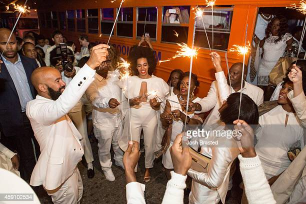 Musician Solange Knowles and her new husband music video director Alan Ferguson attend the secondline with family and friends following their wedding...