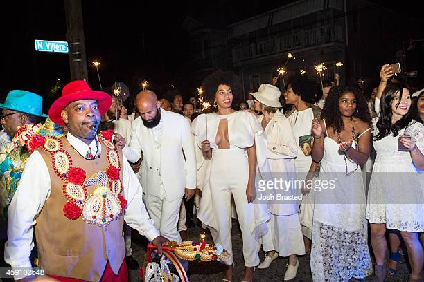 Musician Solange Knowles and her new husband music video director Alan Ferguson attend the secondline following their wedding on the streets of New...