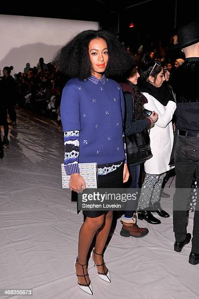 Musician Solange Knowles attends the Noon By Noor fashion show during MercedesBenz Fashion Week Fall 2014 at The Salon at Lincoln Center on February...
