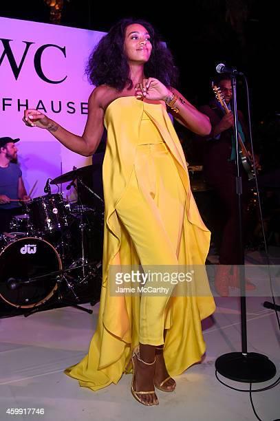 Musician Solange Knowles performs at the IWC Schaffhausen and DuJour Magazine's Jason Binn's celebration of 'Timeless Portofino' during Art Basel...