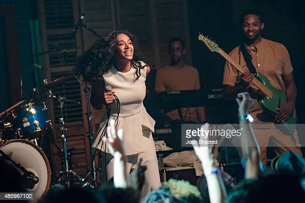 Musician Solange Knowles performs during a benefit concert for the Make it Right Foundation at the House of Blues on August 29 2015 in New Orleans...