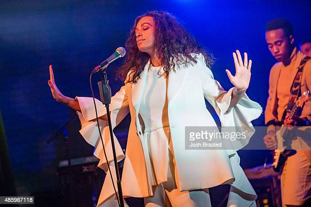 Musician Solange Knowles performs during a benefit concert for the Make it Right Foundation at the House of Blues on August 29, 2015 in New Orleans,...