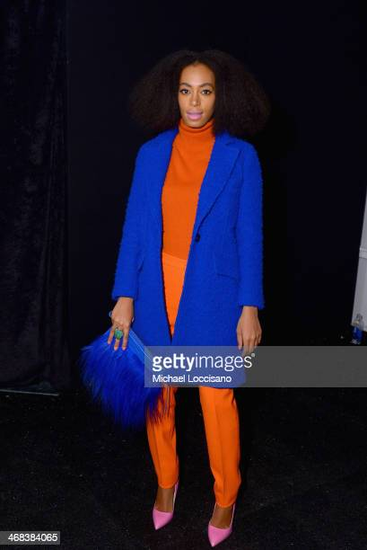 Musician Solange Knowles poses backstage at the Milly By Michelle Smith fashion show during MercedesBenz Fashion Week Fall 2014 at The Salon at...