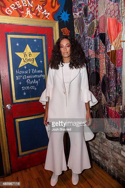 Musician Solange Knowles poses backstage during a benefit concert for the Make it Right Foundation at the House of Blues on August 29, 2015 in New...