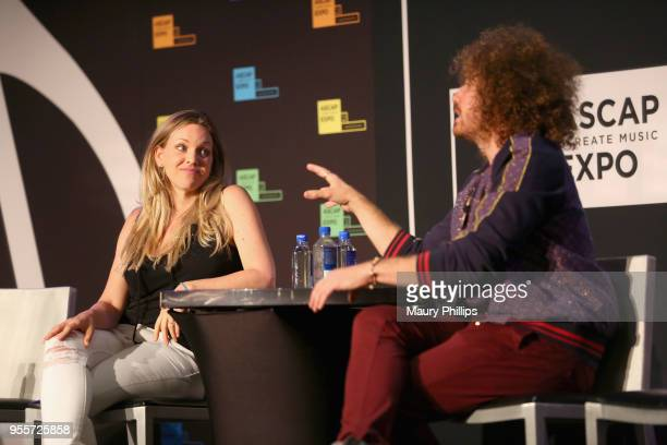 Musician Sonnet Simmons and Singer/Songwriter Ari Herstand speak onstage at the 'How to Make it in the NEW Music Business' panel during the 'We...