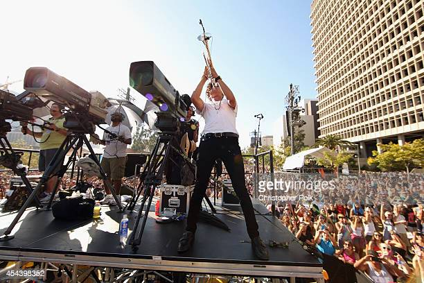 Musician Spencer Ludwig of Capital Cities performs on the Marilyn Stage during day 1 of the 2014 Budweiser Made in America Festival at Los Angeles...