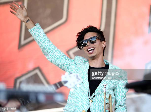 Musician Spencer Ludwig of Capital Cities performs with musical group Cherub during the 22nd Annual KROQ Weenie Roast at Verizon Wireless Music...