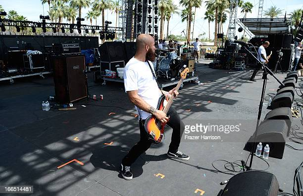 Musician Spencer Pollard of Trash Talk performs onstage during day 2 of the 2013 Coachella Valley Music Arts Festival at The Empire Polo Club on...