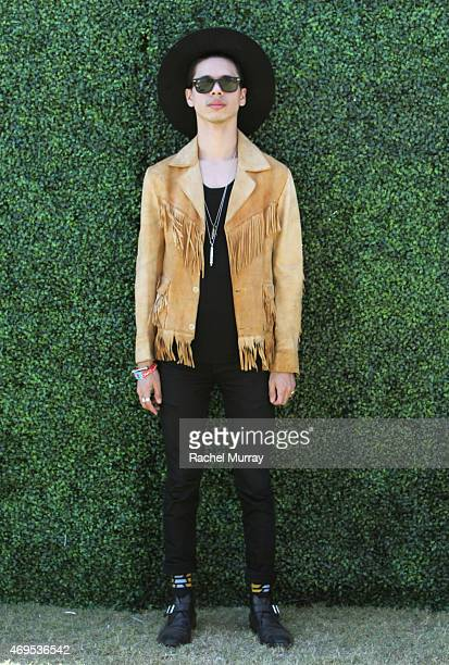 Musician Spincer Ludwig of RAC in a vintage suade jacket attends the 2015 Coachella Valley Music and Arts Festival Weekend 1 at The Empire Polo Club...