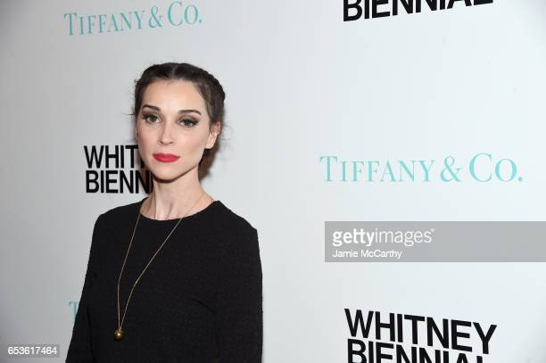 Musician St Vincent attends the Tiffany Co presents Whitney Biennial VIP Opening Night at The Whitney Museum of American Art on March 15 2017 in New...