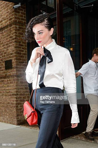 Musician St Vincent leaves her Tribeca hotel on August 01 2016 in New York City