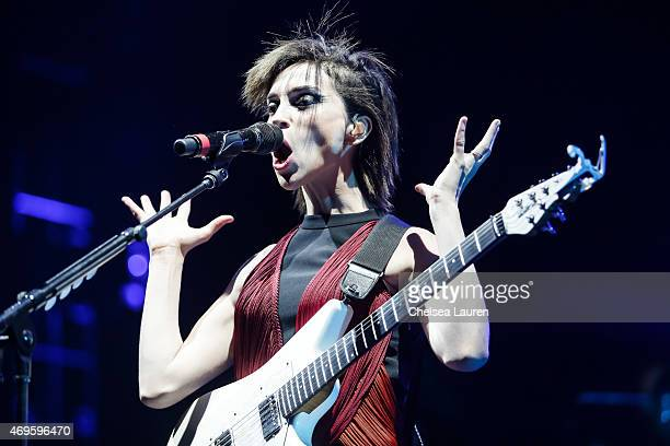 Musician St Vincent performs at the Coachella Valley Music and Arts Festival at The Empire Polo Club on April 12 2015 in Indio California
