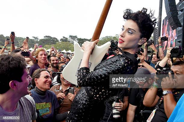 Musician St Vincent performs at the Lands End Stage during day 1 of the 2015 Outside Lands Music And Arts Festival at Golden Gate Park on August 7...