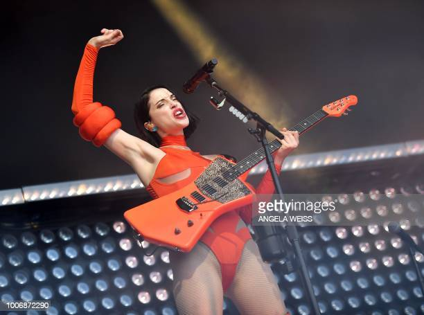US musician St Vincent performs during the Panorama Music Festival on Randall's Island on July 28 2018 in New York