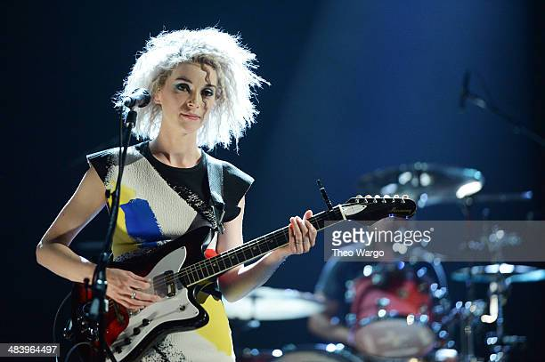 Musician St Vincent performs onstage at the 29th Annual Rock And Roll Hall Of Fame Induction Ceremony at Barclays Center of Brooklyn on April 10 2014...