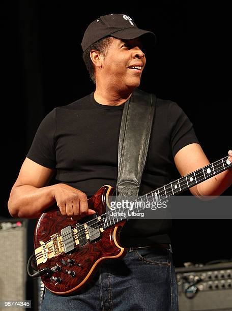 Musician Stanley Clarke performs during day 5 of the 41st Annual New Orleans Jazz & Heritage Festival at the Fair Grounds Race Course on April 30,...