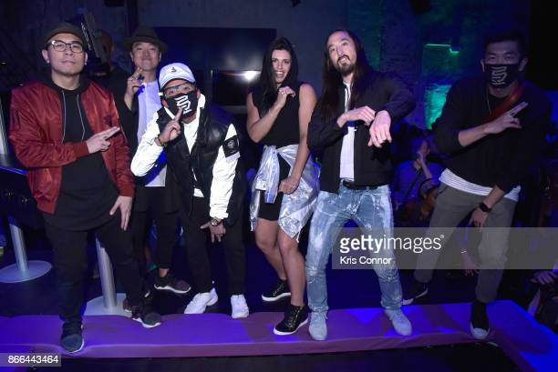 Musician Steve Aoki Boxer Alicia Napoleon and the Kinjaz attend ASICS 'Jump Room' In NYC To Celebrate I Move Me Brand Launch on October 25 2017 in...