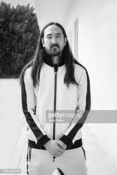 Image has been converted to black and white Musician Steve Aoki poses for a portrait on November 2 2018 in Wynwood in Miami Florida