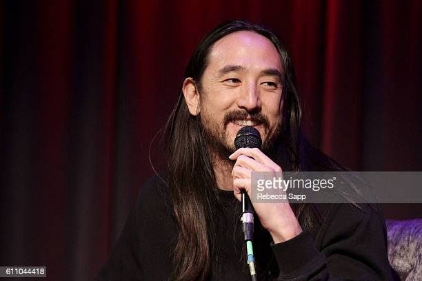 Musician Steve Aoki speaks onstage at Up Close Personal Steve Aoki at The GRAMMY Museum on September 28 2016 in Los Angeles California