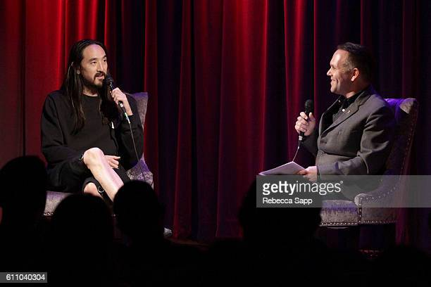 Musician Steve Aoki speaks with moderator Robin Nixon at Up Close Personal Steve Aoki at The GRAMMY Museum on September 28 2016 in Los Angeles...