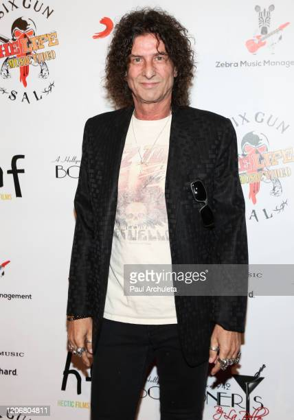Musician Steve Berez attends the arrivals for the live performance of the Rock Band Six Gun Sal at Boardners Restaurant on February 16 2020 in...